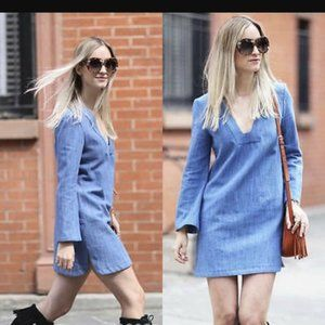 Zara Woman Denim Bell Sleeve Tunic Mini Dress XS